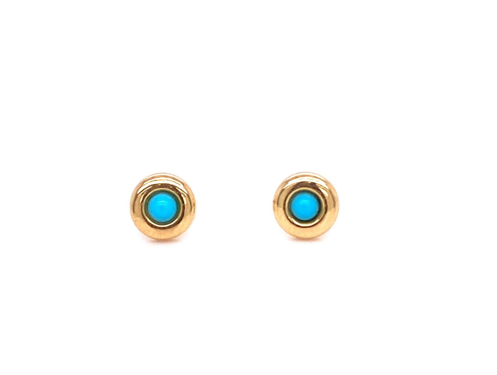Beautiful baby earrings  Secure baby screw backs  18k yellow gold  Two Turquoise stone   5mm