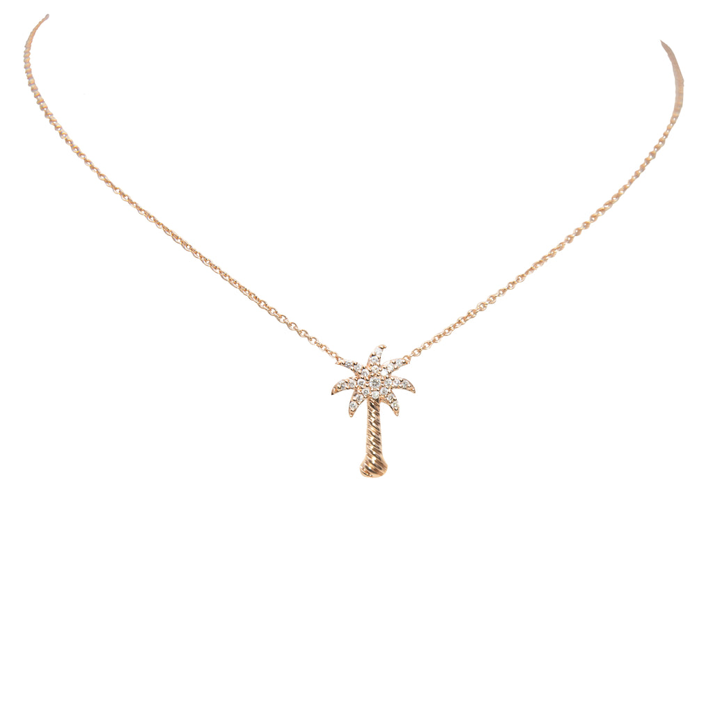 "14k rose gold palm tree necklace, round diamonds 0.15 cts, 3/4"" long. 18"" rose gold chain optional $205.00"