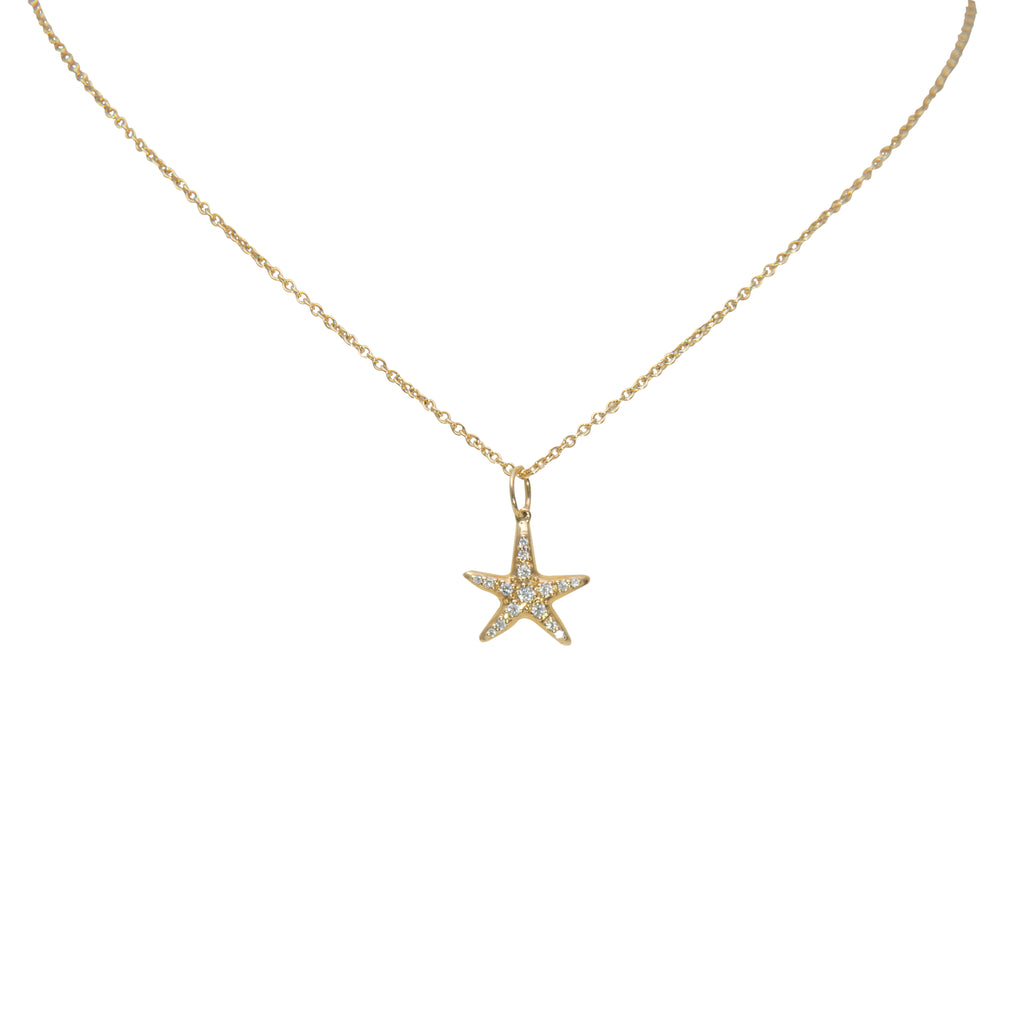 "18k yellow gold starfish pendant, round diamonds 0.09 cts, 12 mm. Lobster clasp. 16"" yellow gold chain in optional $190.00"