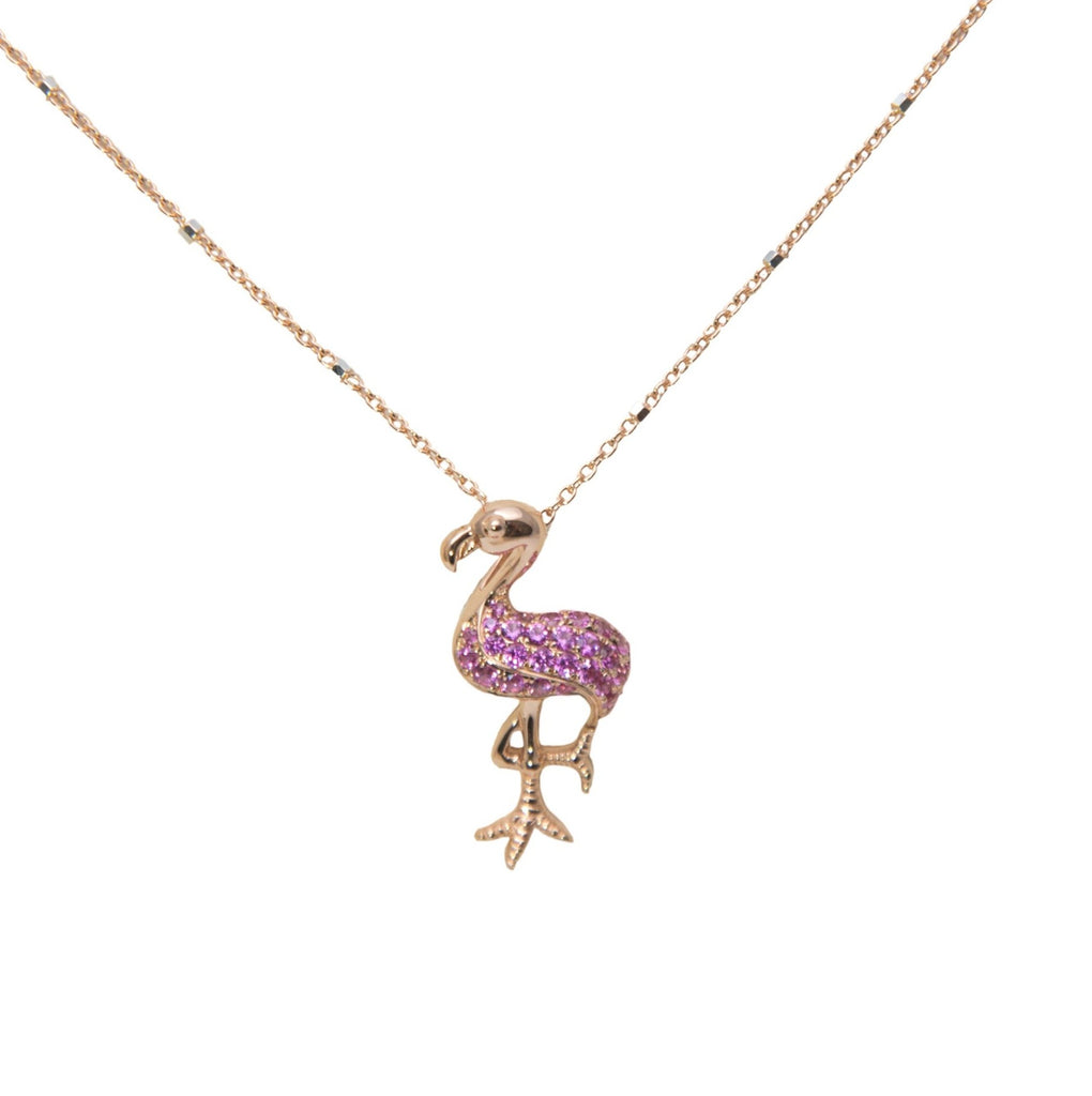 "18 rose gold flamingo pendant, pink sapphires 0.28 cts, lobster clasp, hidden bail, 21 x 10 mm. 18"" Italian rose gold chain optional $299.00"