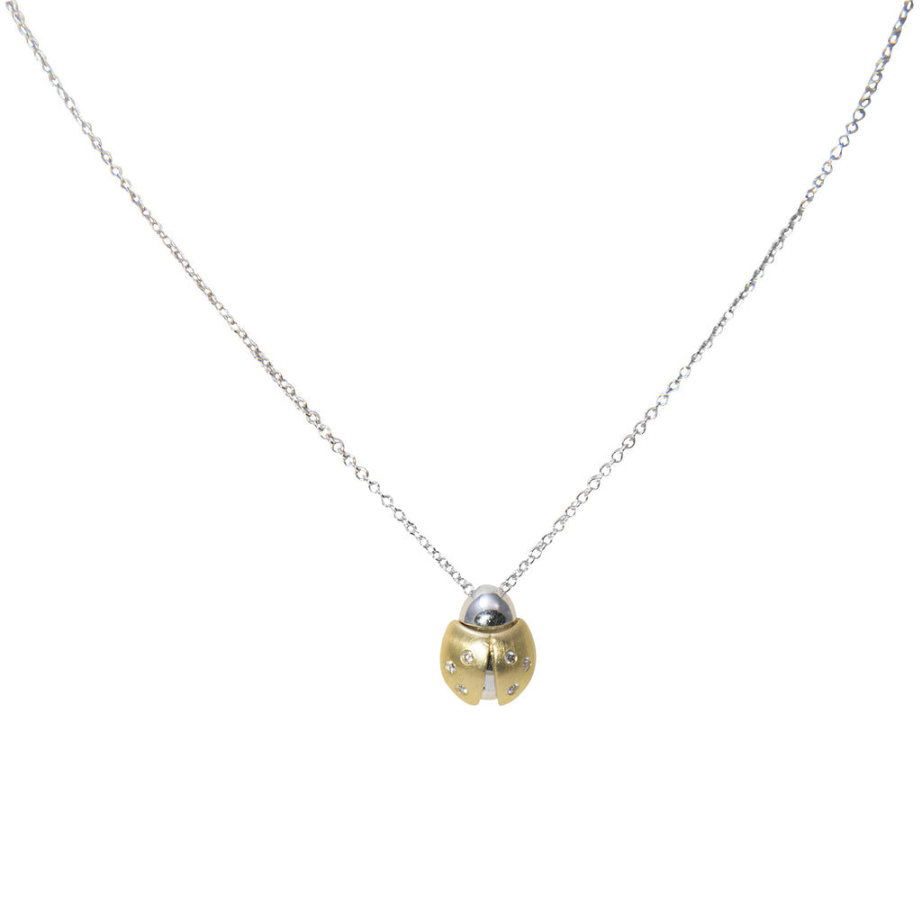 "14k yellow gold matte finish ladybug pendant, round diamonds 0.06 cts, hidden bail, lobster clasp, tow tone gold, 3D pendant (6 mm thickness) 9.30 mm. 16"" white gold chain optional $205.00"