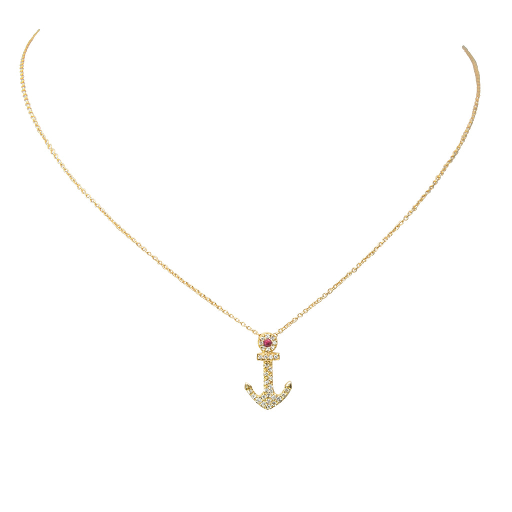 "18k yellow gold anchor, rounds diamonds 0.12 cts and one ruby, spring clasp, hidden bail, 15.50 mm, 16"" yellow gold chain."