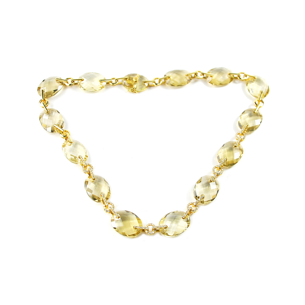 Oval Citrine & Diamond Necklace