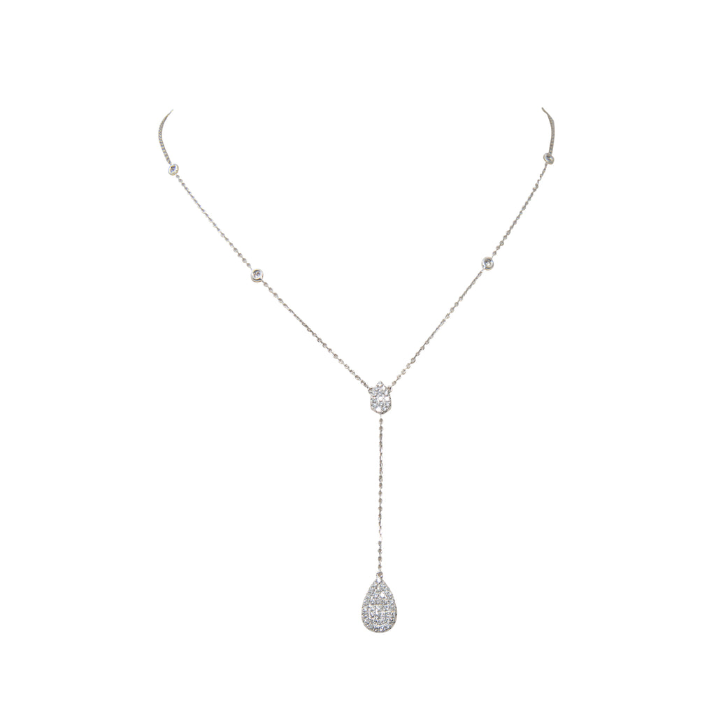 Diamond Pave Pear Shape Necklace With Halos