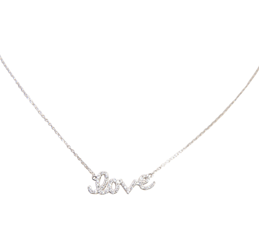 "18k white gold necklace with ""love"" tag, cursive writing, round diamonds 0.26 cts, 18"" white gold chain with sizing loop at 16"", lobster clasp. 22 x 8 mm."