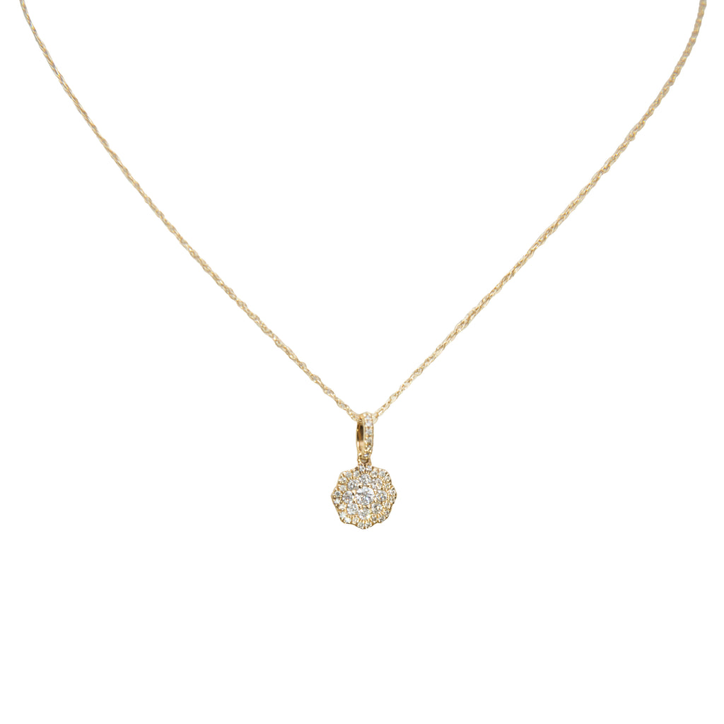 "14k yellow gold necklace, round diamond 0.33 cts. 17"" yellow gold chain. 8.30 mm  (excluding bail)"