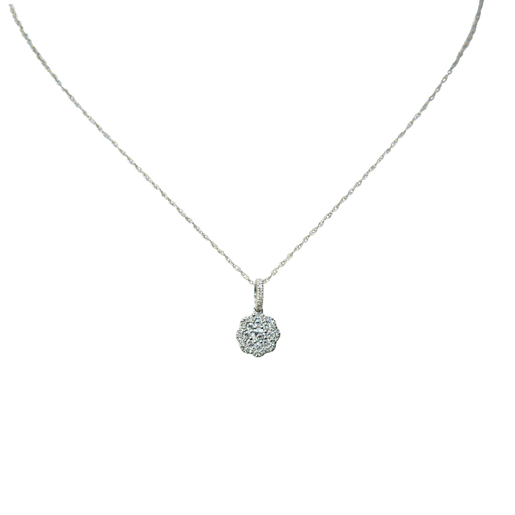 14kt white gold and round diamonds 0.33 cts necklace, flower shaped pendant  8.30 mm (excluding bail)  14kt white gold chain, 17 inches long