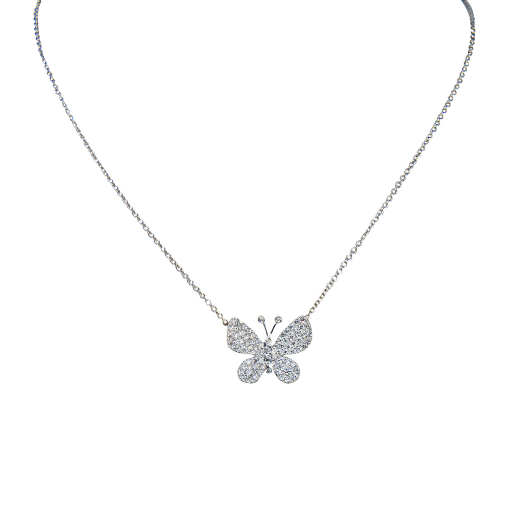 14kt white gold and 0.50 cts diamond butterfly necklace 17.50 mm butterfly pendant ,14kt white gold necklace 17 inches