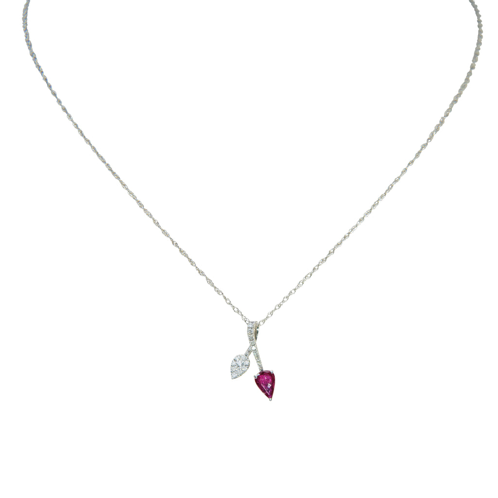 White gold and diamond necklace with ruby stone. 14kt white gold chain, 0.49 cts diamonds and 0.49 cts ruby