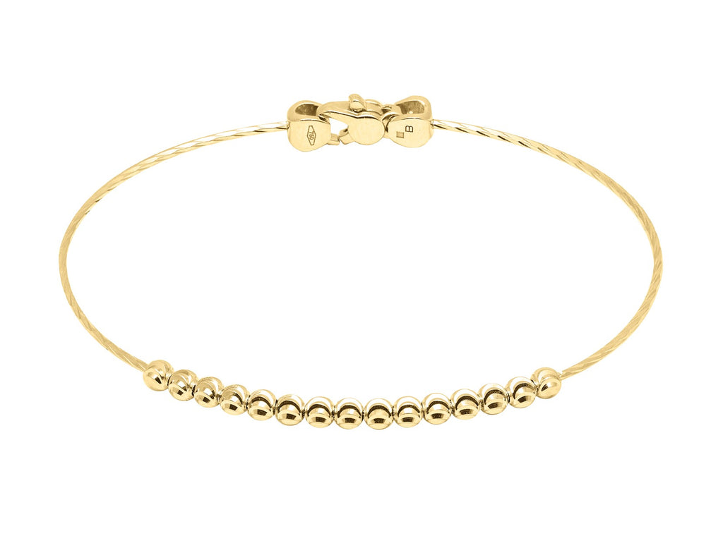"Diamond cut 3.00 mm beads 18k yellow gold Italian collection from Officina Bernardi Secure lobster clasp 7"" bangle"