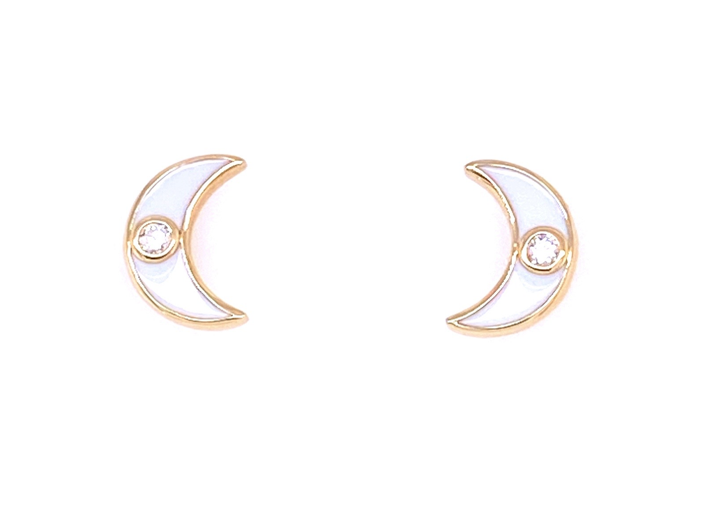18k yellow gold  White enamel  Small round diamond  Crescent moon earrings  Secure friction back