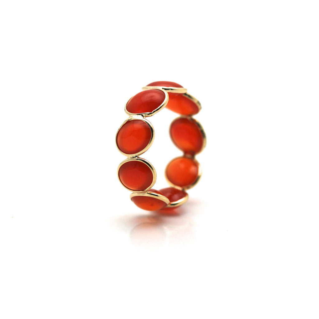 Orange carnelian eternity ring set in 18k yellow gold 6.5 size 5.50 mm size bead