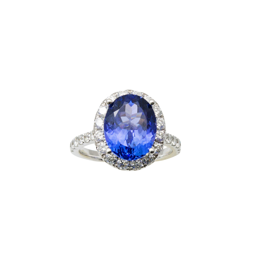 Oval tanzanite and diamonds in best miami jewelry store