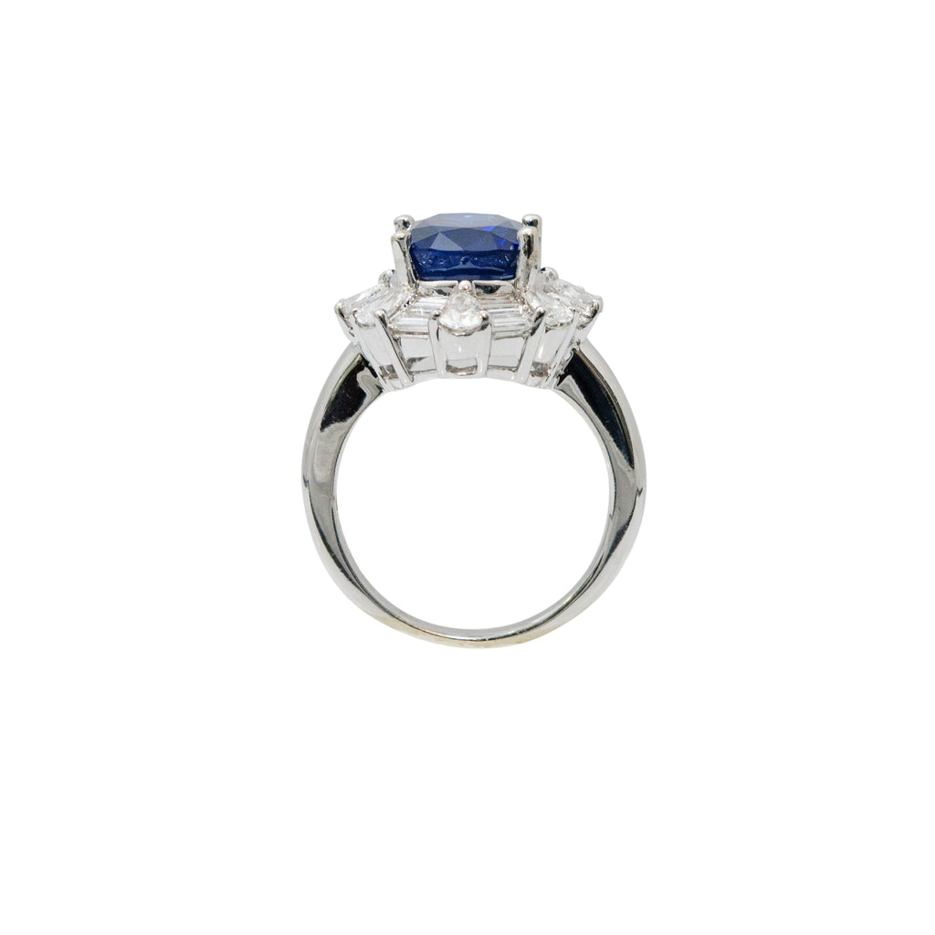 Certified Blue Sapphire & Diamond Cocktail Ring
