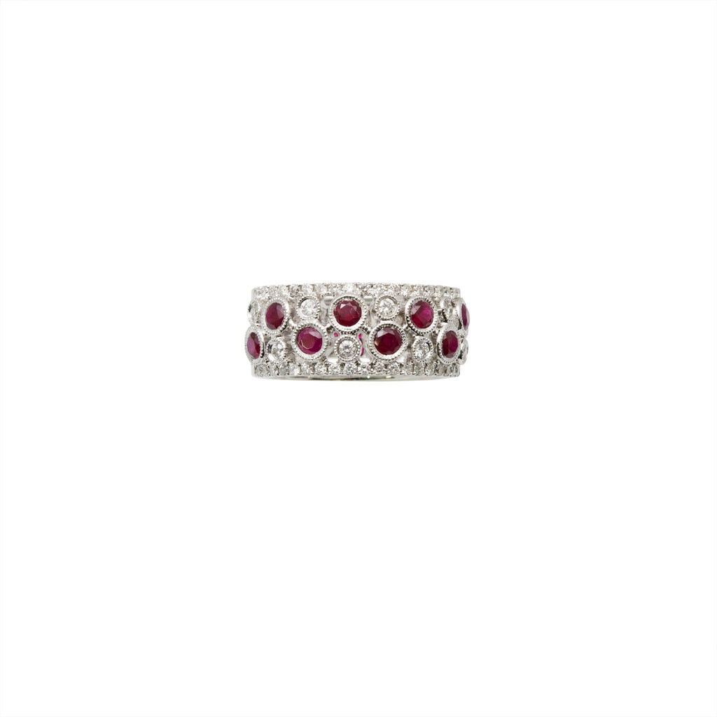18k white gold ring, 8 round rubys 0.91 cts and 46 round diamonds 0.52cts. Filigree gallery finish in half of the band. 9 mm width. Size 6 (sizeable)