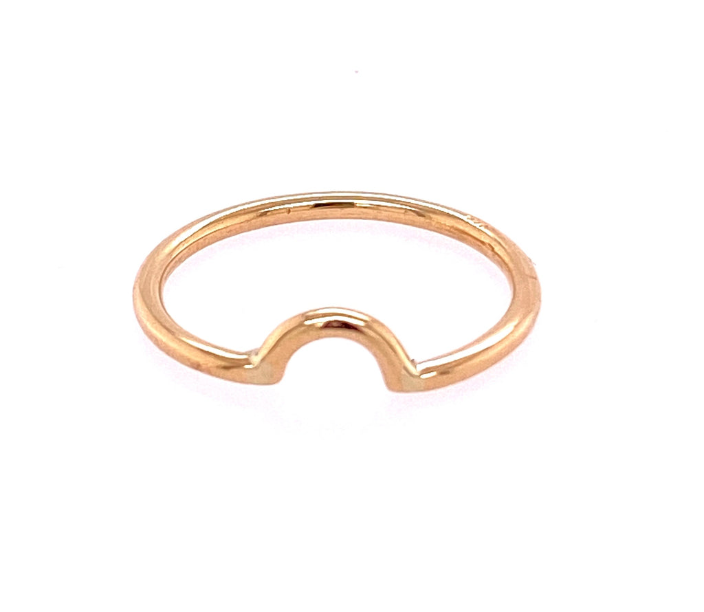 14k yellow gold ring  Size 6  Hammered finish  Dainty curved ring
