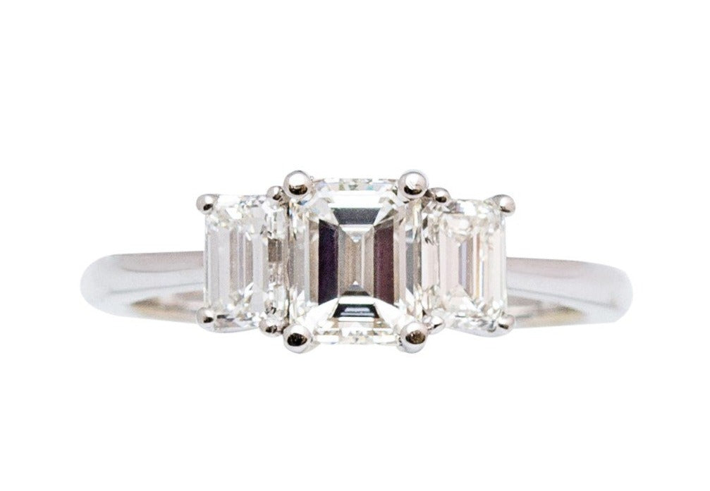 Custom made engagement ring 1.01 emerald cut center stone diamond Color I Clarity VS2 Two side emerald cut diamonds 0.80 cts  Set in platinum mounting
