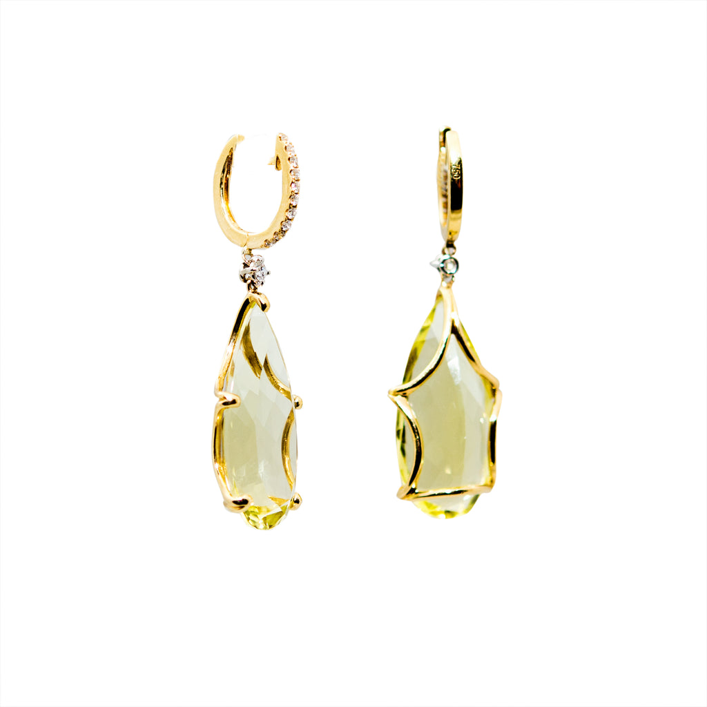 Lemon Quartz & Diamond Cocktail Drop Earrings
