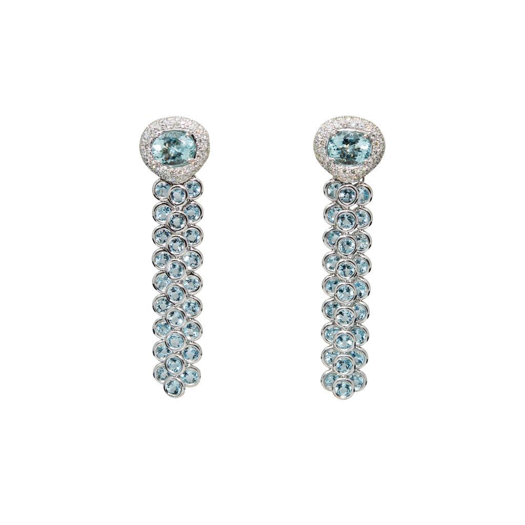 Aquamarine & Diamond Long Drop Earrings