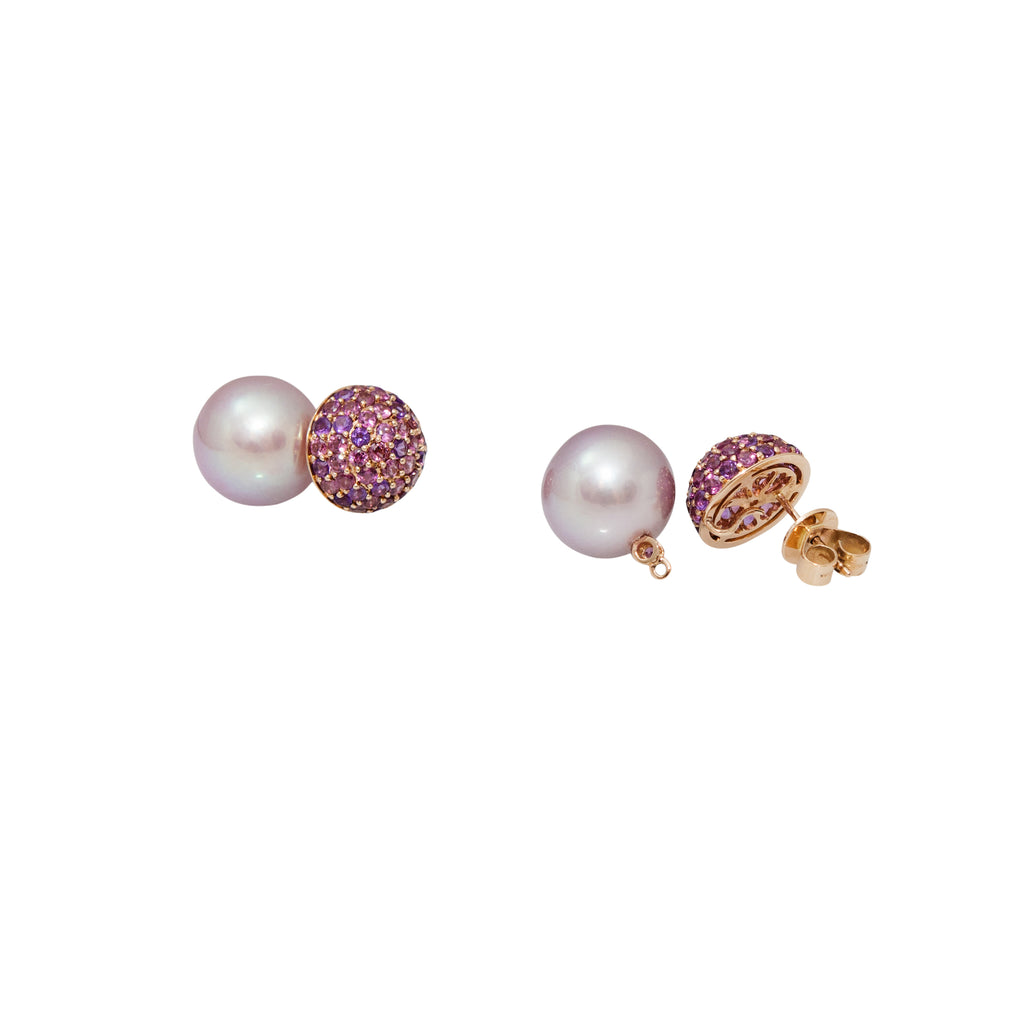 Removable Pink Pearl & Amethyst Earrings