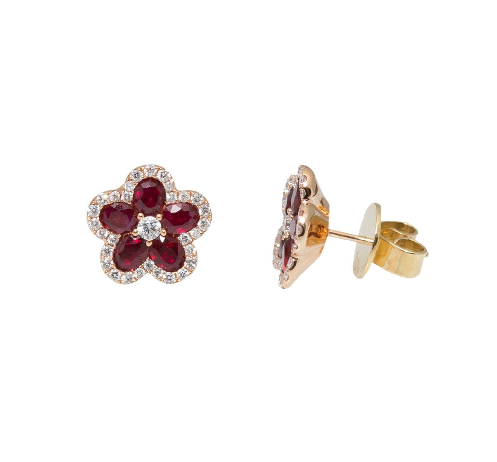 Flower Motive Ruby & Diamond Earrings