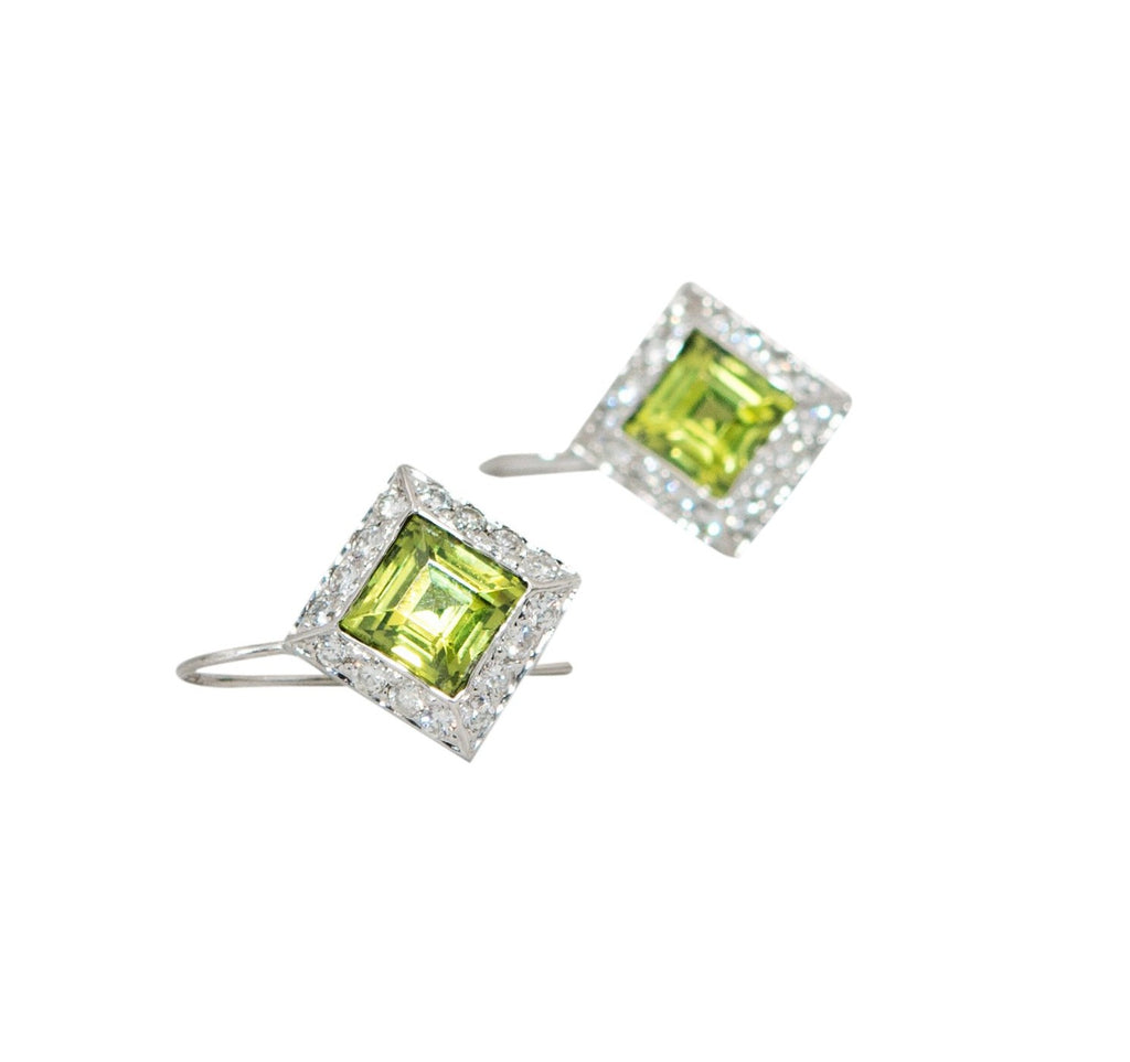 Square Peridot & Diamond Drop Earrings