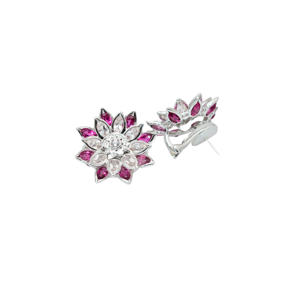 Flower Motive Tourmaline Earrings
