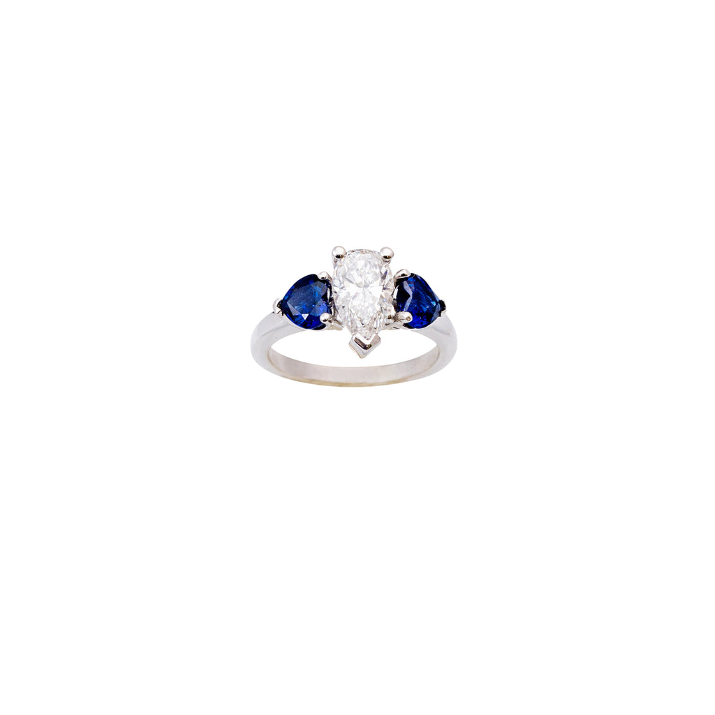 Pear shape diamond & heart shape sapphire three stone ring
