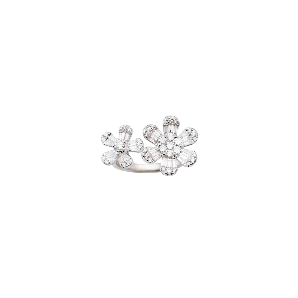 Double flower ring 14.36 mm & 11.22 mm size 6.5 sizable ring 14k white gold mouting  0.82 cts baguette diamonds 0.55 round diamonds