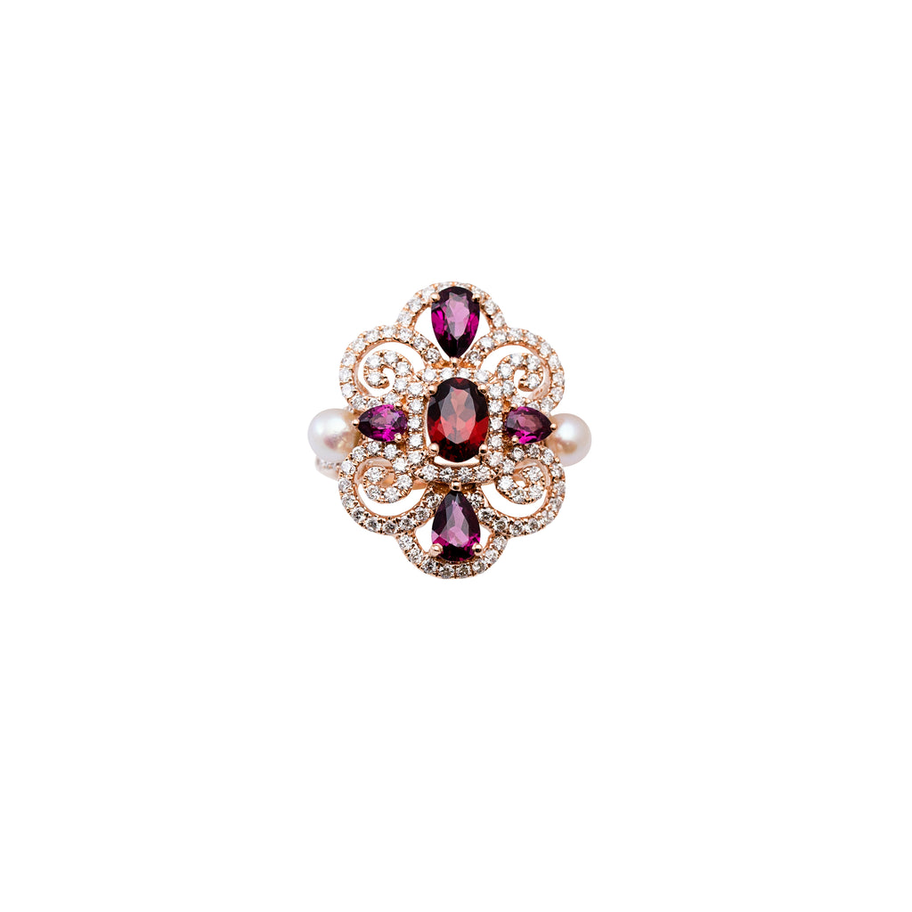 Filigree style color stone ring Round & par shape amethyst 2.45 cts Round diamonds 1.17 cts Two cultured pearls 5.00 mm (movable) Set in 18krose gold mounting  6.5 size (sizeable)