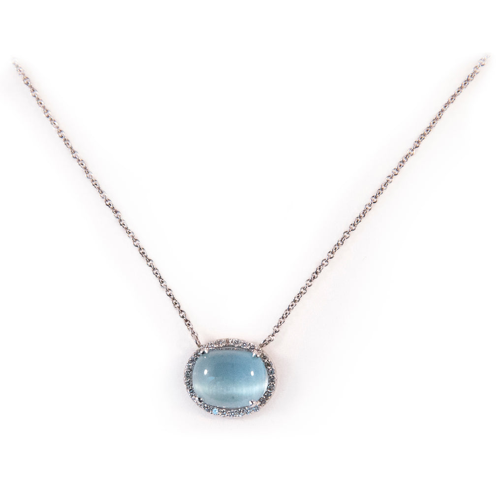 Moonstone Cabochon Diamond Necklace