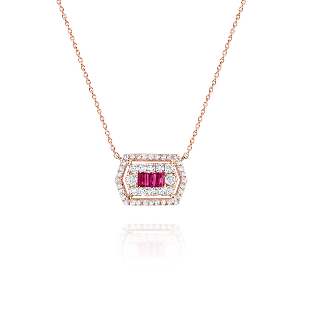 Ruby & Diamond Dainty Necklace