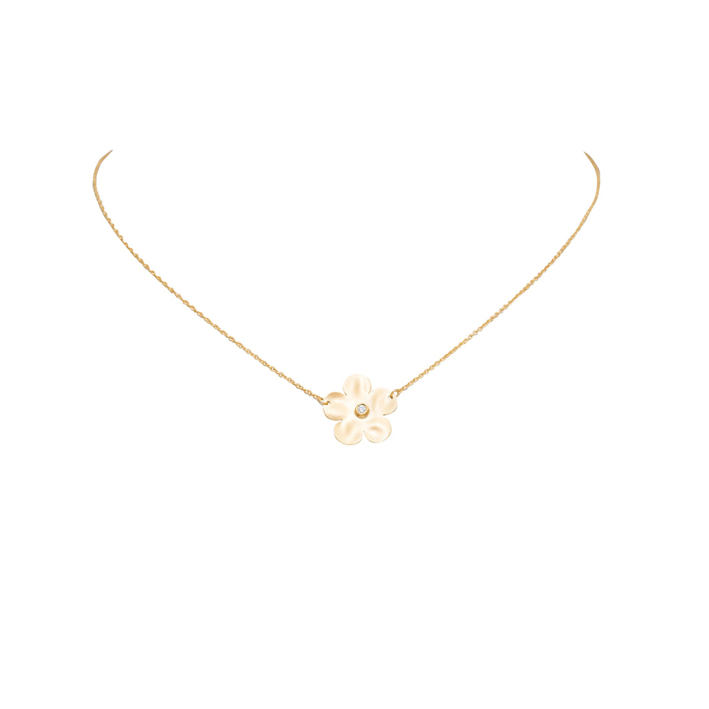 "14k yellow gold necklace matte finish single flower 0.02 cts diamond 16"" long with sizing loop 15.00 mm charm size"