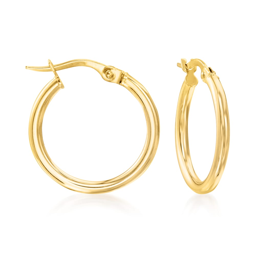 14k yellow gold  20 mm diameter  3.00 mm thickness  Easy to wear  Secure latch system