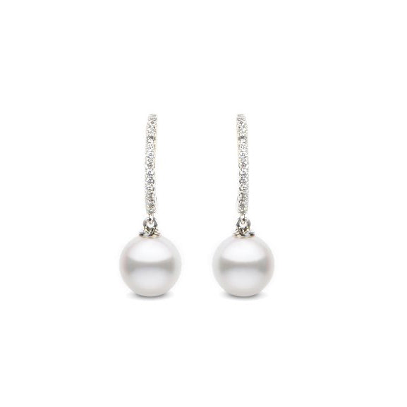 Diamond & Akoya Pearl Drop earrings