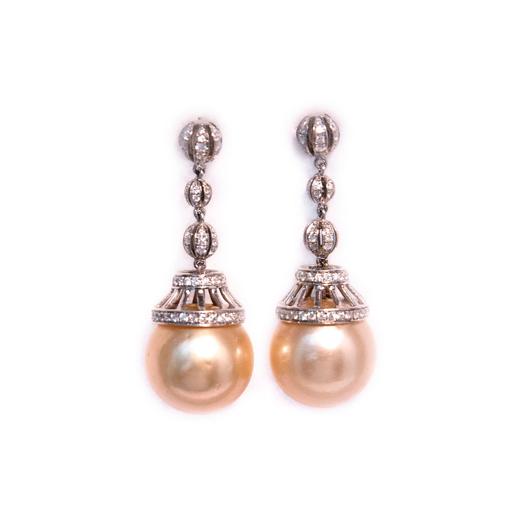 Golden Tahitian Pearl Earrings