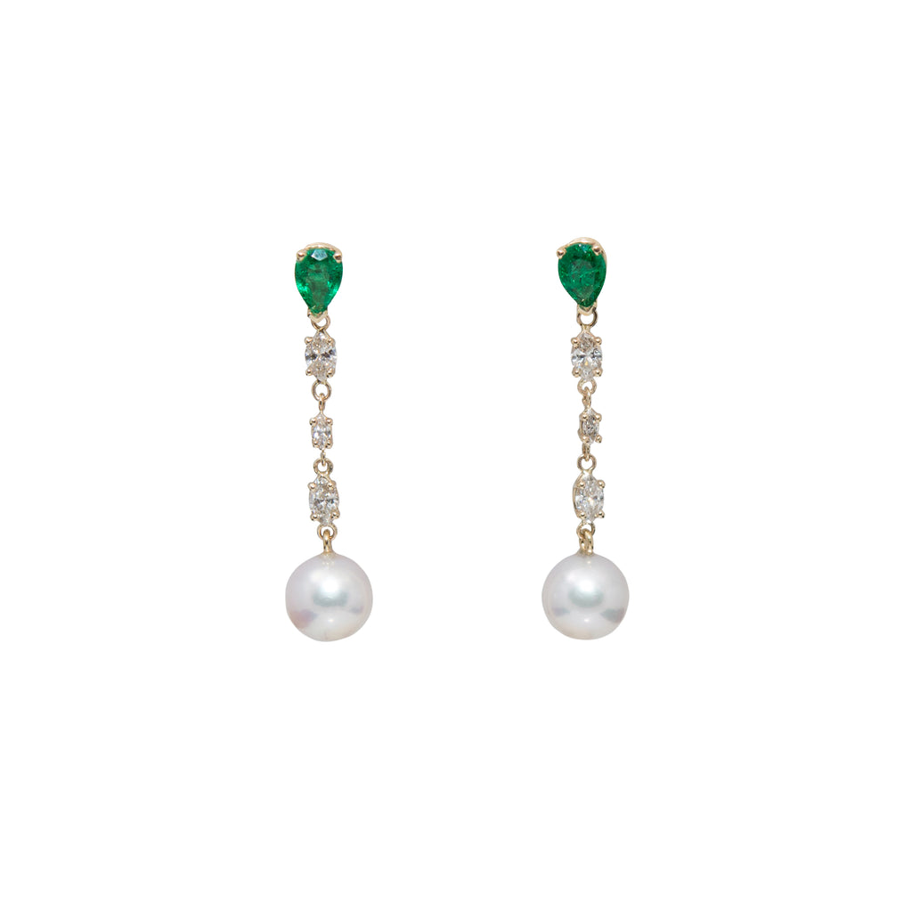 Diamond, Emerald & Cultured Pearl Drop Earrings
