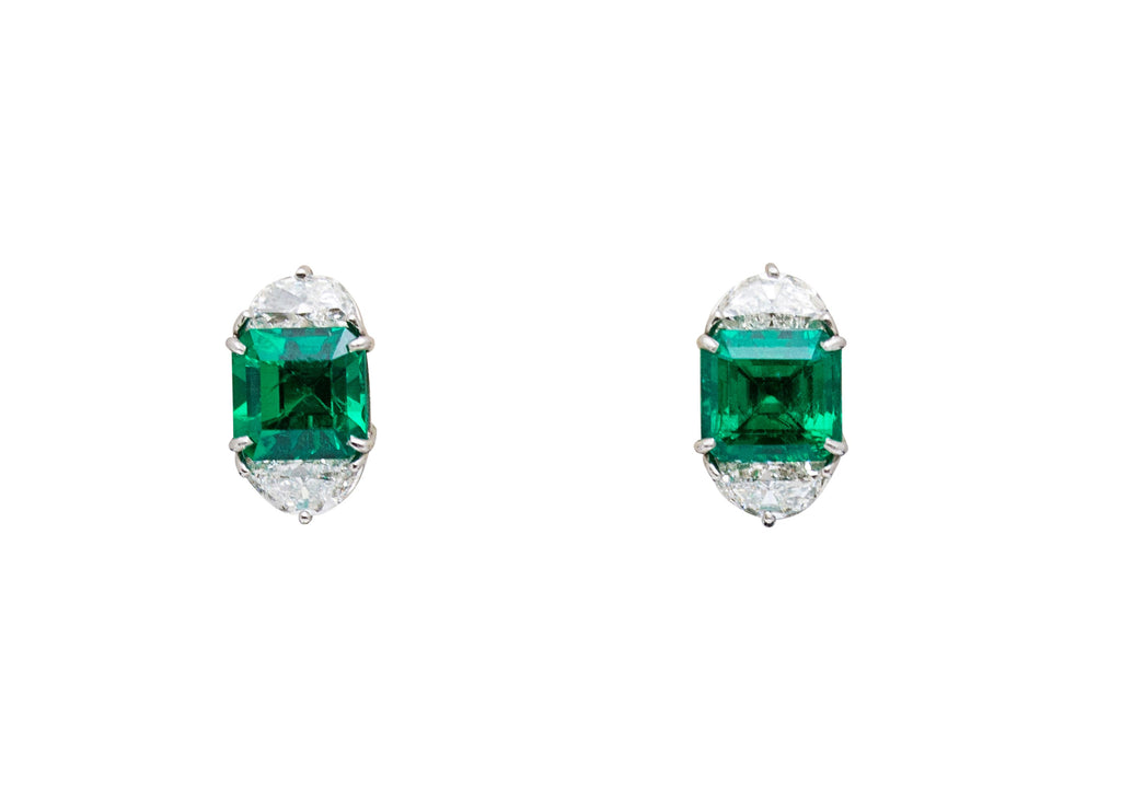 Colombian emerald & diamond earrings