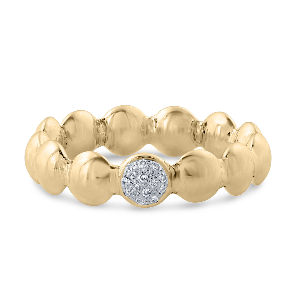 Lentil Gold Ring with Diamonds