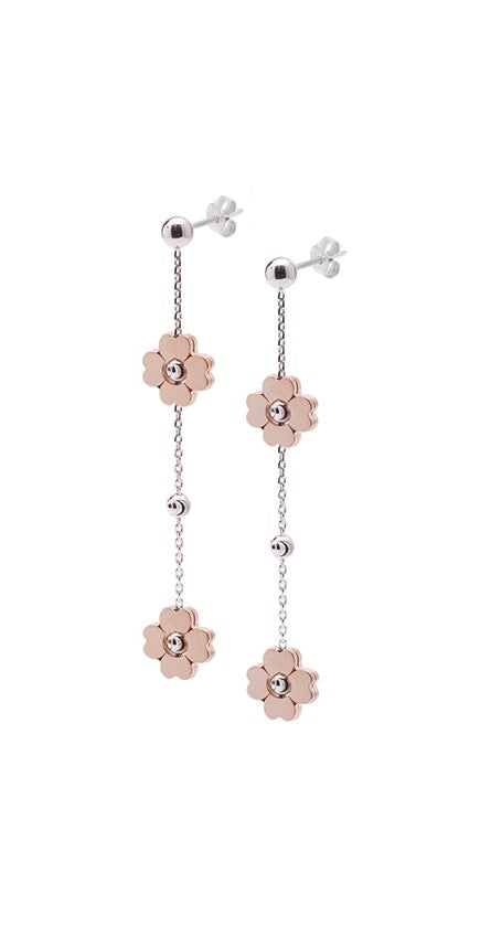 Sterling silver drop earrings coated with rhodium  Friction backs Two rose gold flowers on each side