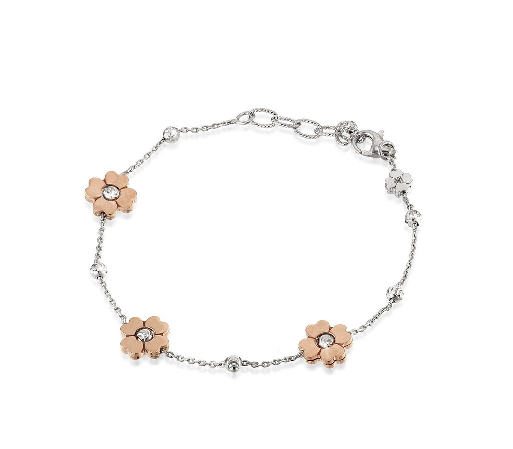 "High precision diamond cut silver beads  white rhodium coated.  Three 18k rose gold-plated flowers  8"" long.  Italian collection from Officina Bernardi  1"" Adjustable chain  Secure lobster clasp"