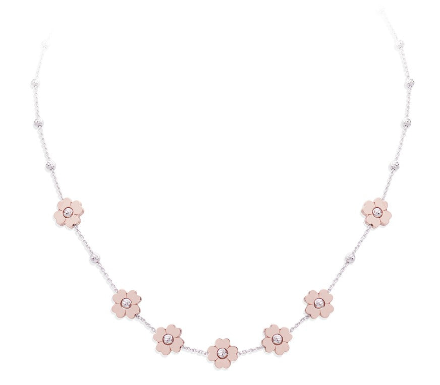"High precision diamond cut silver beads white rhodium coated Seven 18k rose gold-plated flowers 16"" long Italian collection from Officina Bernardi 2"" Adjustable chain Secure lobster clasp"