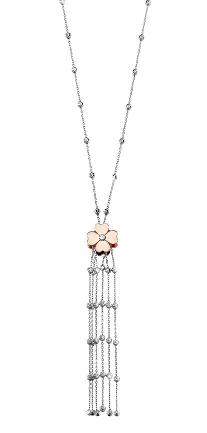 "High precision diamond cut  Rose gold plated flower  Rhodium coated chain  6 row tassel (3"" long)  34"" long necklace   Secure lobster catch  Italian collection from Officina Bernardi"