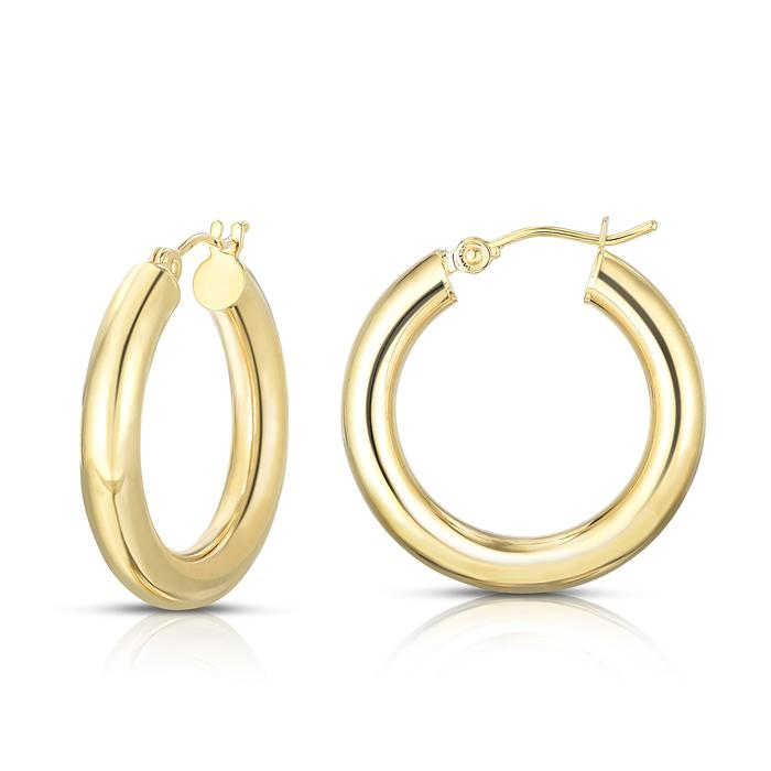 14k Italian gold  28 mm diameter  4.0 mm thickness  Easy to wear  Secure latch system