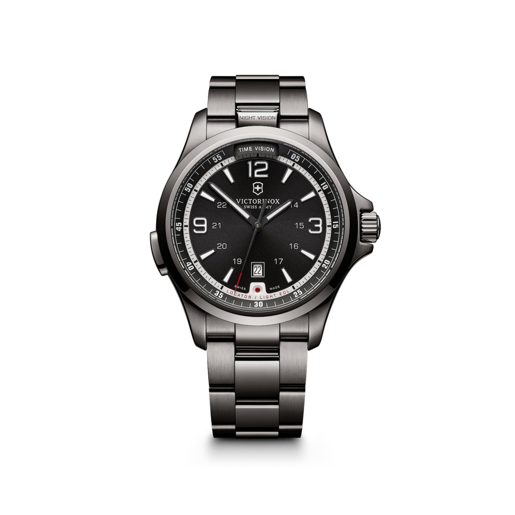 Nightvision stainless steel watch
