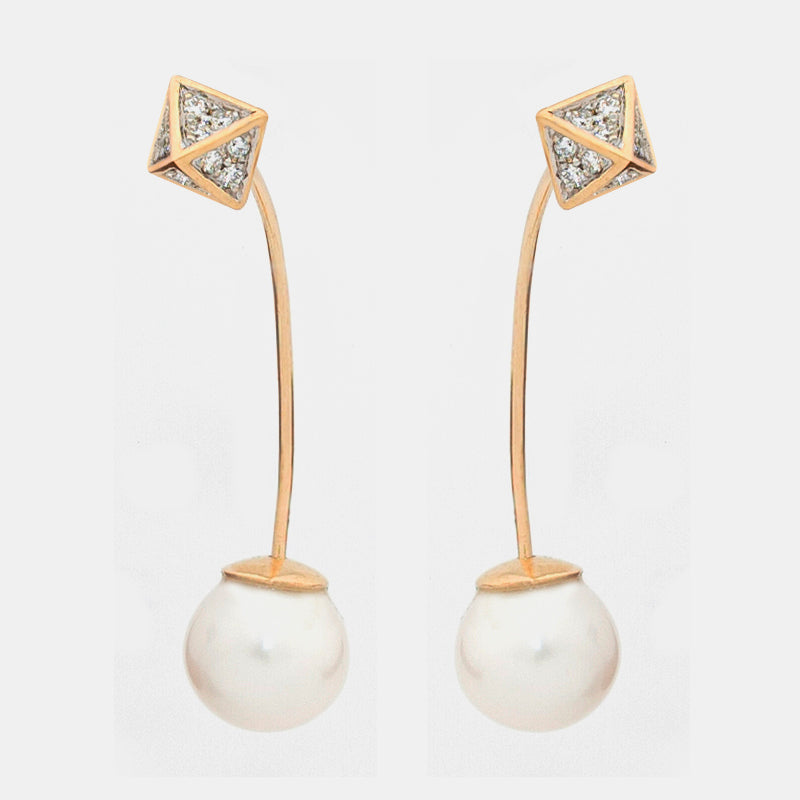 Modern & stylish pyramid & pearl earrings.  14k yellow gold  Round white diamonds 0.12 cts  6.14 mm pyramid studs  Two fresh water pearls 10.00 mm  24.00 mm long  Secure friction backs