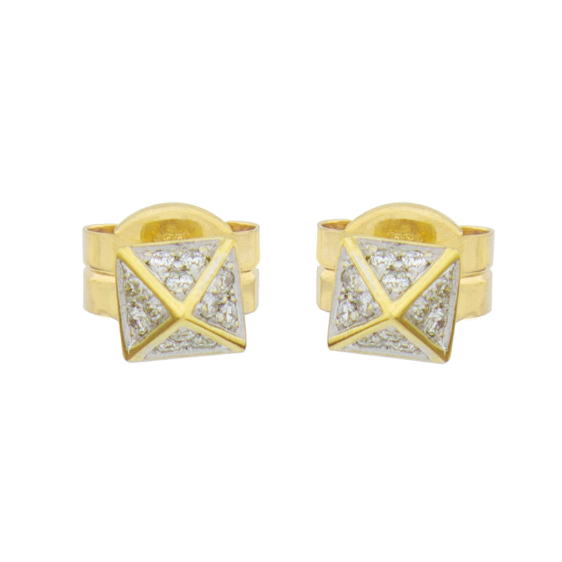 Modern pyramid earrings  14k yellow gold  Round white diamonds 0.17 cts  6.14 mm   Secure friction backs
