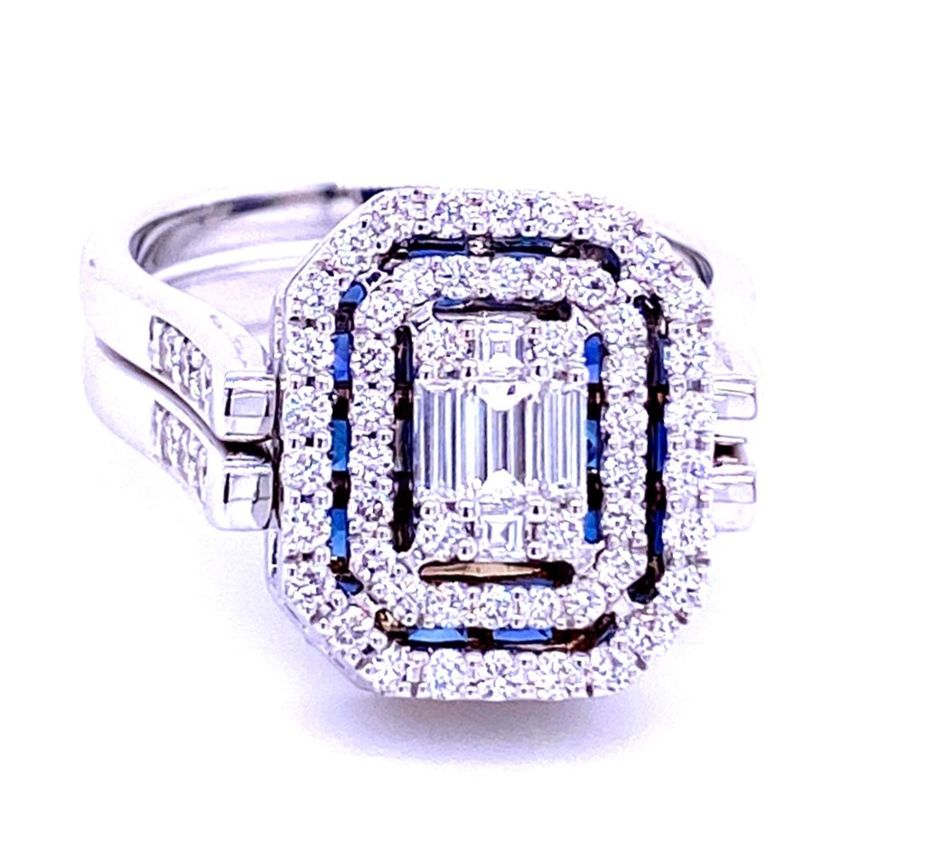 Italian made ring. Craftmanship can really be appreciated in a piece like this. Set in 18k white gold mounting that smoothly reserves.  One side has princess cut sapphires with invisible setting 2.35 cts  Other side has emerald cut & round white diamonds 1.46 cts  Two row shank  Size 6  (sizeable)