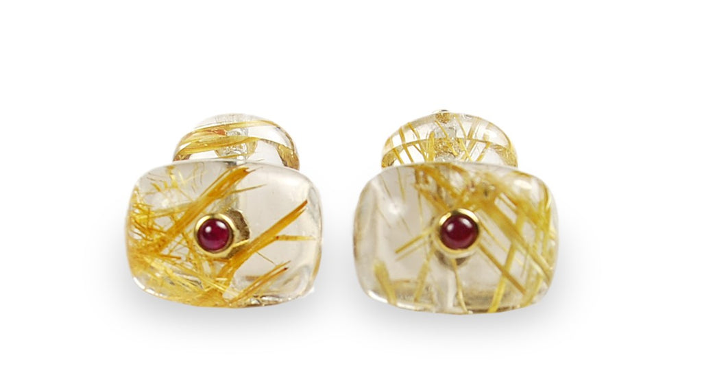 Unique style. Rutilated yellow quartz cufflinks, sterling silver, two rubies in 18k yellow gold bezel setting. 20 x 15 mm (top) 14 x 10 mm (bottom)