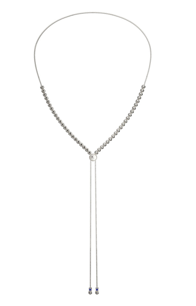 Italian collection from Officina Bernardi High precision diamond cut 4.00 mm beads Rhodium coated Multiuse necklace: choker, long necklace & back necklace